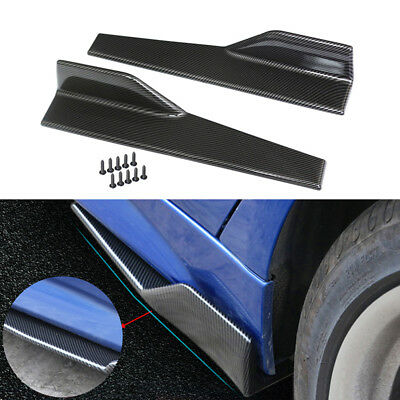 Black Car Carbon Fiber Side Skirt Rocker Splitters Winglet Wings Diffuser Canard