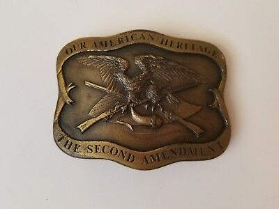 Vintage Second Amendment Firearms Brass Belt Buckle Indiana Metal Craft 1977