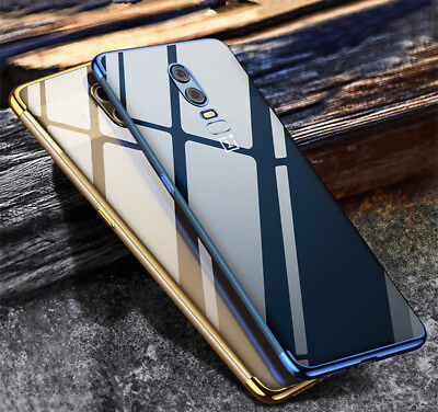 For OnePlus 6 5T 5 Case Clear Cover Slim Shockproof Electroplate Soft TPU Hybrid