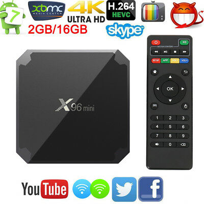 X96mini Smart Android 7.1 TV Box S905W Quad Core H.265 2GB / 16GB WiFi Media