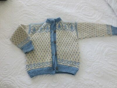 Vintage Children's Nordic-Style Wool Cardigan Sweater-Ivory/Baby Blue