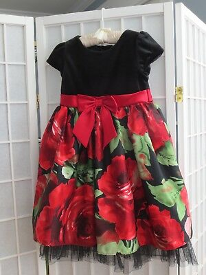 Marc & Maddie Girl's Floral Party Dress-Size 5-Red/Black-Lined