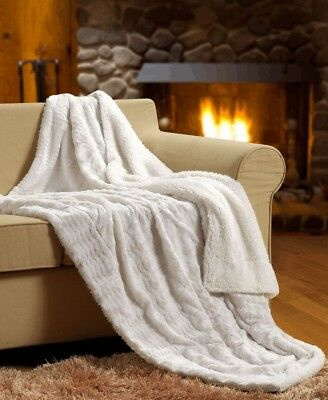 Sherpa Super Soft Reversible Solid Throw Blanket - OVERSTOCK SALE