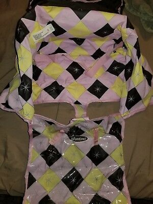 Infantino Compact 2 in 1 Shopping Cart Cover Car Seat Protection Pink yellow bla