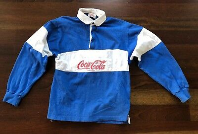 Youth Medium Coca Cola Color Block Blue Rugby Shirt Red Writing 1980s Vintage