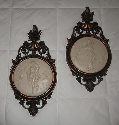 Vintage Pair Victorian Ladies Wall Plaques Cameo Style Dart #4056A & B Syroco