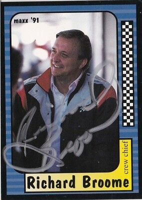 Richard Broome Autographed Signed 1991 Maxx Racing Nascar Trading Card