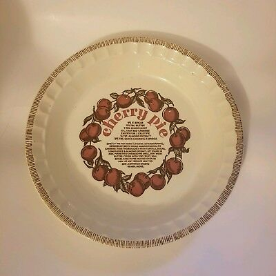 """Vintage Country Harvest Cherry Pie Recipe Deep Dish 1983 Royal China Co. 11"""""""