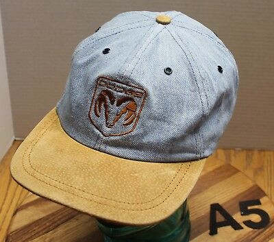 Vintage Dodge Hat Blue Denim Crown Brown Bill Embroidered Usa Made Vgc A5