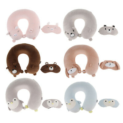 Memory Foam U-shaped Travel Pillow Neck Guard Head Support with Eye Mask