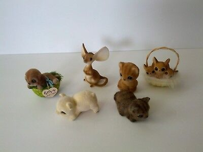 Lot of 6 Vintage FLOCKED FUZZY CRITTERS JOSEF A.A.I. PARMA &  A.A.F.