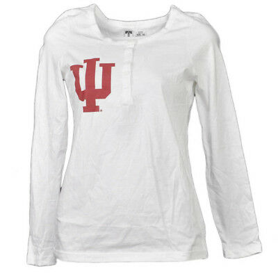NCAA Indiana Hoosiers Blanc Femmes Manches Longues Tshirt Bouton Col Rond Henley