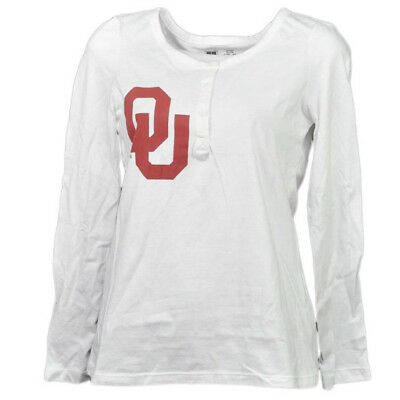 NCAA Oklahoma Sooners Femme Adulte Manches Longues Tshirt Bouton Col Rond Henley
