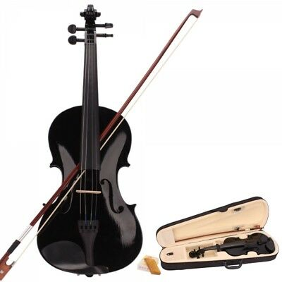 4/4 Full Size Black Acoustic Violin for Beginner with Fiddle Case/Bow/Rosin
