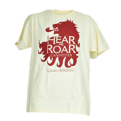 Game of Thrones Hear Me Roar Lannister House Tshirt Tee Mens Cream Short Sleeve