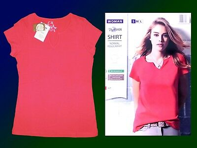 Women's Shirt T-Shirt Basic Light Red SIZE 36/38 Cotton New