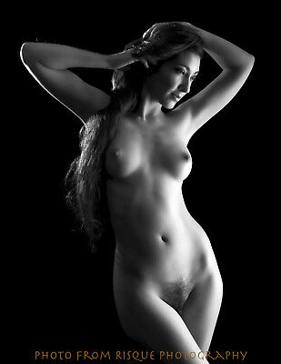 "Modern Nude Woman w/ Long Hair 8.5x11"" Photo Print Naked Female B&W Photography"