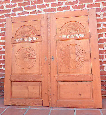 "Pair of antique stripped pine doors 55 1/4""H"