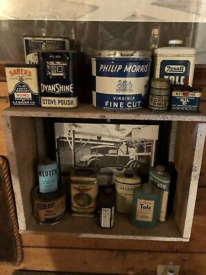 Antique Vintage Tins Large Collection Lot Various Sizes And Brands