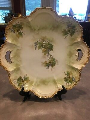 Antique Vintage Germany Cake Plate Hand Painted Scalloped Embossed Green Gray