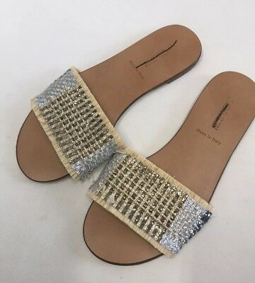 76bd2052afd3 New J Crew Slide Sandals Flats Sandals in Metallic Raffia Multi Sz 6 H9765