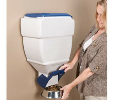 Wall Mount Pet Dry Food Dispenser Cat Dog Food Storage Container Holds 40 Pounds