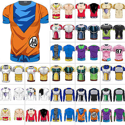Mens Dragon Ball Z T-shirts DBZ Goku Compression Sports Fitness Muscle Tops Tee