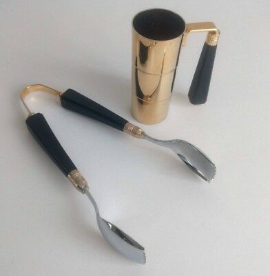 Glo-Hill Canada Bar Tools Jigger and Tongs Gold Tone Black Stainless Steel Shot