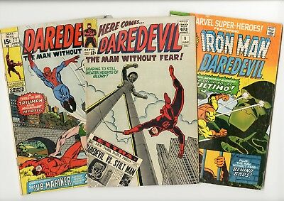 early DAREDEVIL lot of three #8 #77 Marvel Super-Heroes #30 Wally Wood