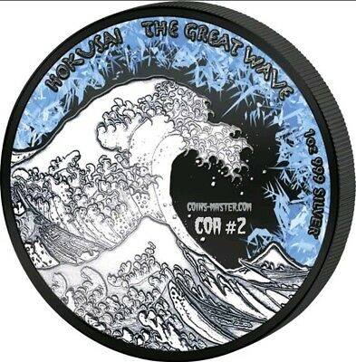 2017 1 Oz Silver $1 Fiji DEEP FROZEN THE GREAT WAVE Coin.  COA #2.