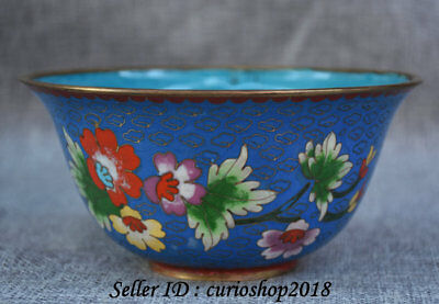 """6"""" Old Chinese Blue Cloisonne Enamel Copper Dynasty Palace Flower Bowl Bowls"""
