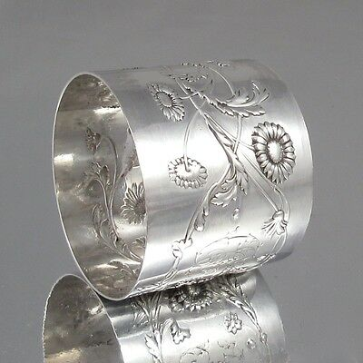 Antique French Sterling Silver Napkin Ring, Chrysanthemums, Hallmark Minerve 1