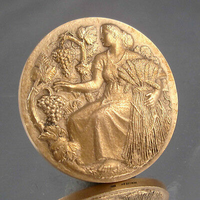 Vintage French Bronze Medal Bas-Relief, Agriculture, Grapes, Signed H.M. Petit