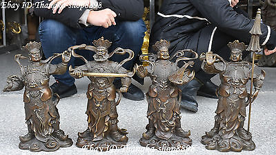 """19"""" Chinese Pure Bronze Taoism Myth 4 Great Heavenly Kings Immortals Statue Set"""