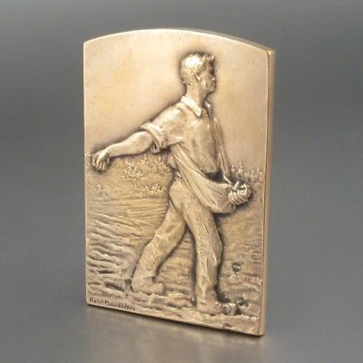 Vintage French Bronze Bas Relief Medal Sower Harvest Haystacks, Signed Baudichon