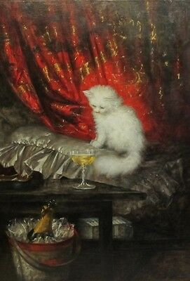 Large Museum Quality Oil Painting CARL KAHLER  Angora Kitten & Champagne c. 1890