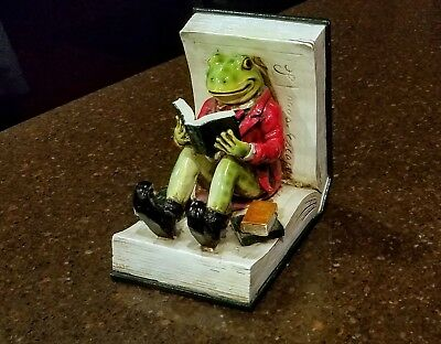 Vintage Bookend Statue Adorable Frog Toad Green Red Reading
