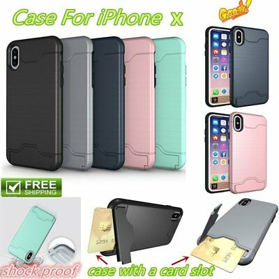 Shockproof Ultra Thin Slim Rugged Card Holder Case Cover For iPhone X Lot XA