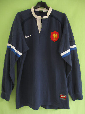 e87eadc6f0a3f Maillot Rugby Equipe QUINZE de FRANCE Nike FFR Marine Jersey Vintage - L