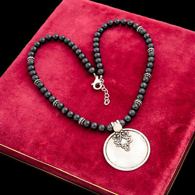 Antique Vintage Art Deco Style Sterling Silver Byzantine Bali Onyx Bead Necklace