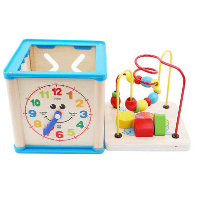 Wooden Learning Bead Maze Cube 5 in 1 Activity Center Children Educational Toy Z