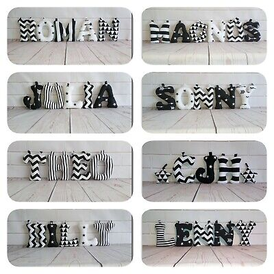 Fabric letters, Personalised Baby Name, Nursery decor, Wall art, Black&White,