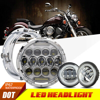 """7"""" Headlamp LED Daymaker Headlight Set Fit Harley Heritage Softail Classic"""