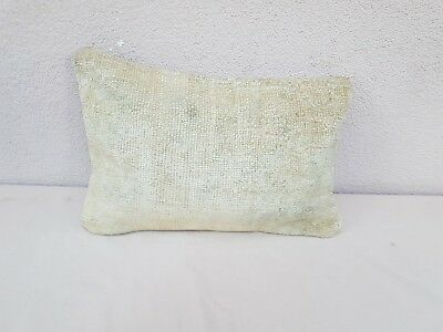 Vintage Handwoven Low Pile Soft Color Oushak Ushak Rug Pillow Cover 14''x20''