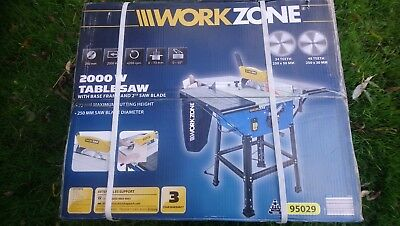 BRAND NEW WorkZone 2000W Table Saw with Base Frame & 2 Blades