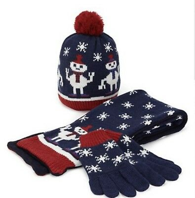 M&s Christmas Hat, Scarf & Gloves Set Boys Size 6-18M, 3-6 Years Stocking Filler