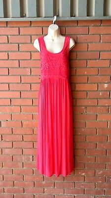 Ladies Pink Maxi Dress With Embroidered Detail On Front Panel Size 12