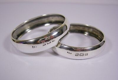 Edwardian Pair Of Solid Sterling Silver Napkin Rings 1906