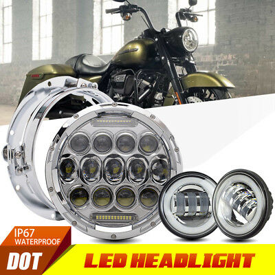 """7"""" Headlamp LED Daymaker Headlight Set For Harley Heritage Softail Classic"""