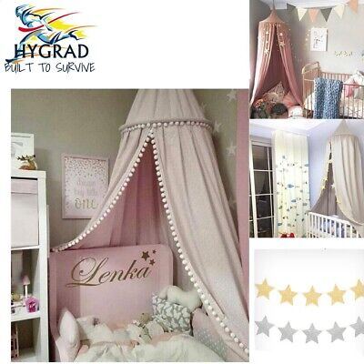 Children Bed Canopy Round Dome Mosquito Curtain Kid Bedroom 3 Colors With Star's